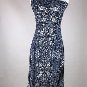 Soma Blue Paisley Print Bandeau Maxi Dress XSmall